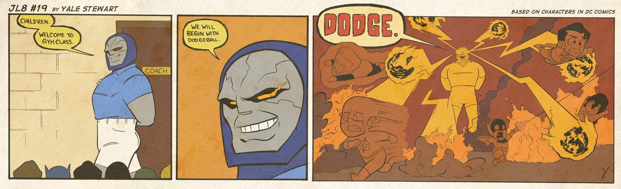 JL8 Dodgeball Darkseid Gym class